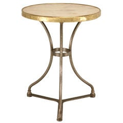 Original Antique French Brass, Marble, & Steel Bistro/Cafe Table