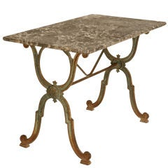 Authentic Original Antique French Iron Bistro Table w/Marble Top