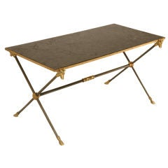 Maison Jansen Neoclassical Coffee Table w/Bronze Rams & Hooves