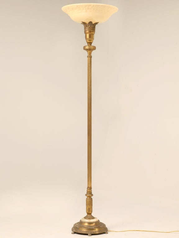 Vintage American Torchiere Floor Lamp W Onyx Base At 1stdibs