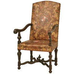 "Phenomenal Antique ""Embossed Painted & Gilded Leather"" Throne Chair"
