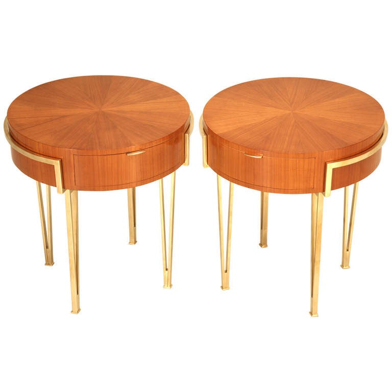 pair of ebonized mid century modern tables with brass legs and drawer at 1stdibs. Black Bedroom Furniture Sets. Home Design Ideas