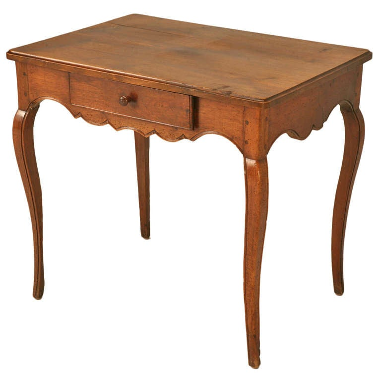 Original 18th C.Petite Antique French Louis XV Walnut Table/Desk