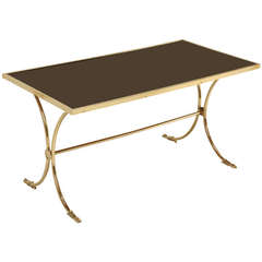 French Solid Brass and Black Coffee Table