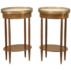 Louis XVI Style End Tables or Night Stands with Marble Tops