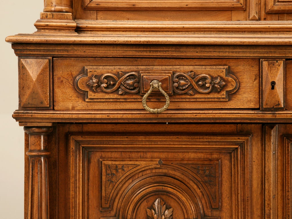 Unique Shallow Antique French Walnut Bibliotheque China