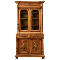 Unique Shallow Antique French Walnut Bibliotheque/China Cabinet
