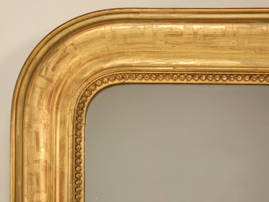 Large Antique French Louis Philippe Mirror w/Original Gilding image 10