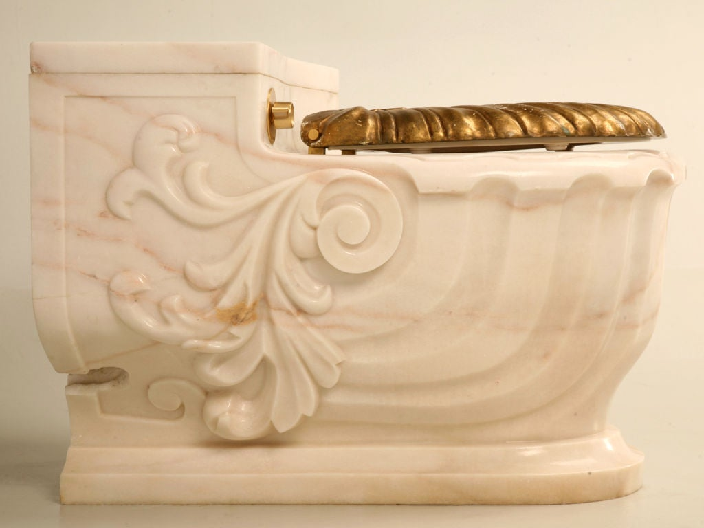 Vintage Sherle Wagner Luxury Carved Marble Toilet Cover 1