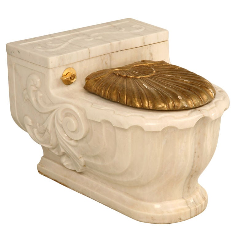 Vintage sherle wagner luxury carved marble toilet cover 1 of 3 at