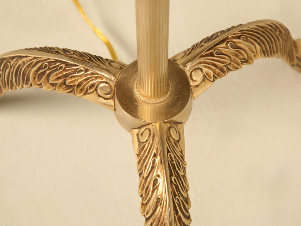 Vintage French Solid Brass 3 Legged Floor Lamp w/New Shade ...