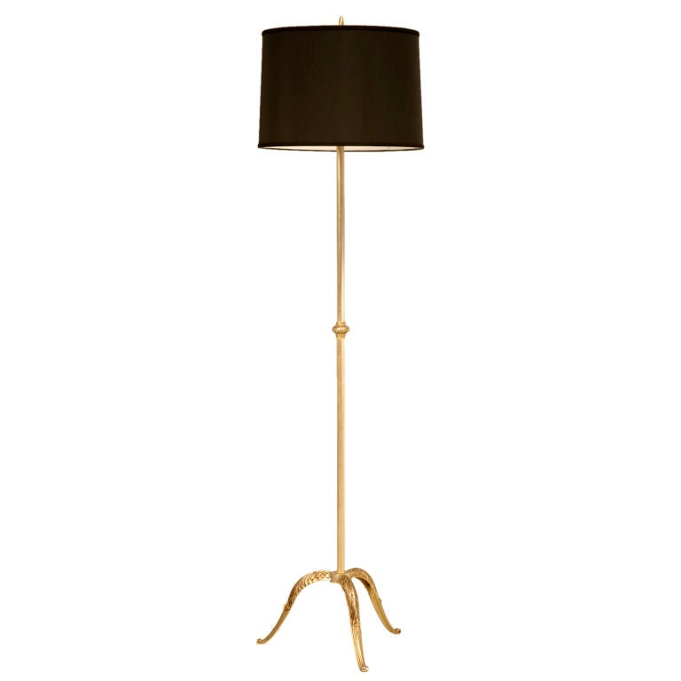 vintage french solid brass 3 legged floor lamp w new shade at 1stdibs. Black Bedroom Furniture Sets. Home Design Ideas