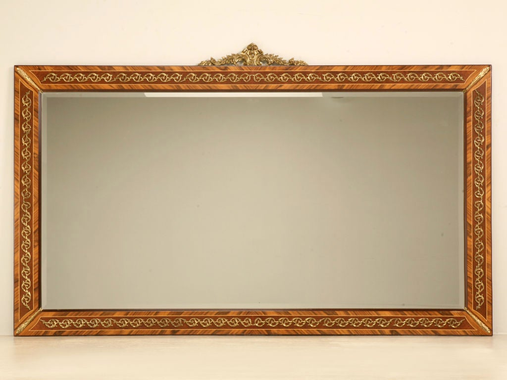 Giant vintage horizontal mirror with marquetry and ormolu - Large horizontal bathroom mirrors ...