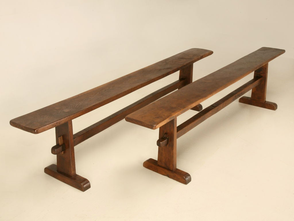 Original Antique French Solid White Oak Farmhouse Dining Bench For Sale 7