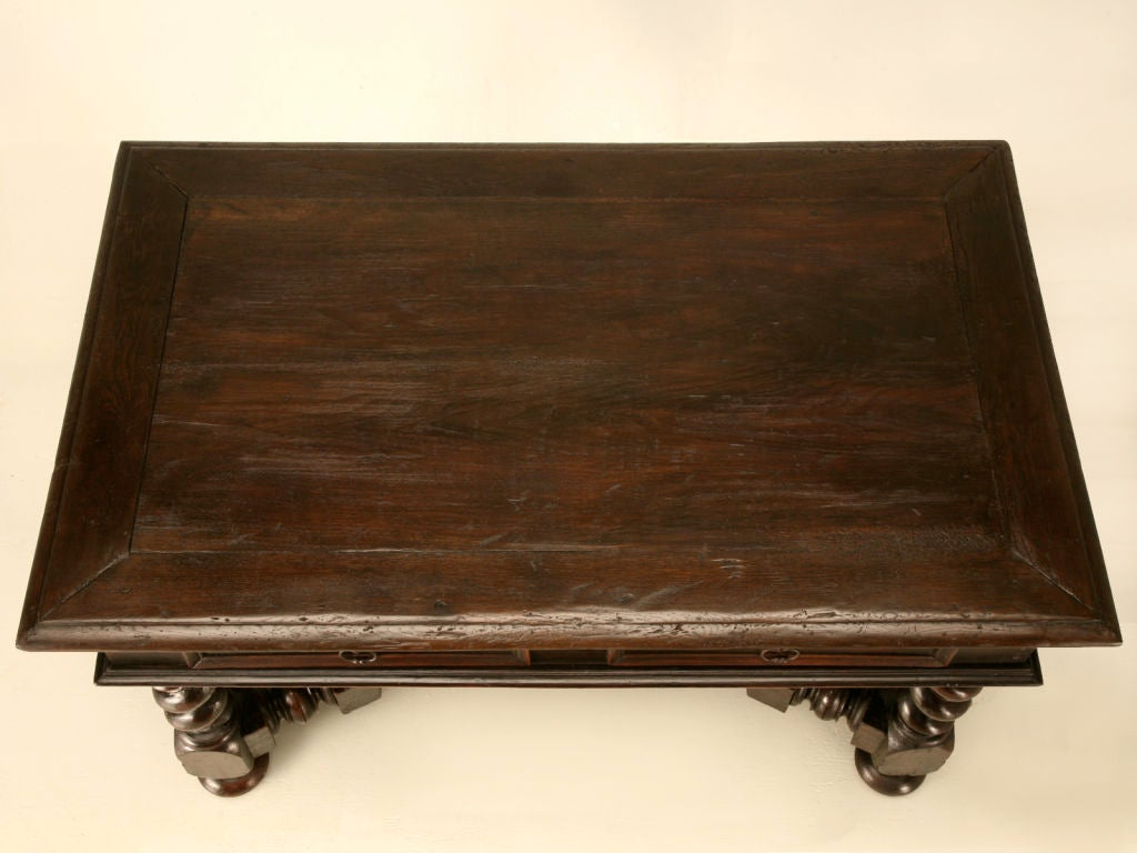 Louis XIII Antique French Solid Oak Medieval Style 2 Drawer Writing Table