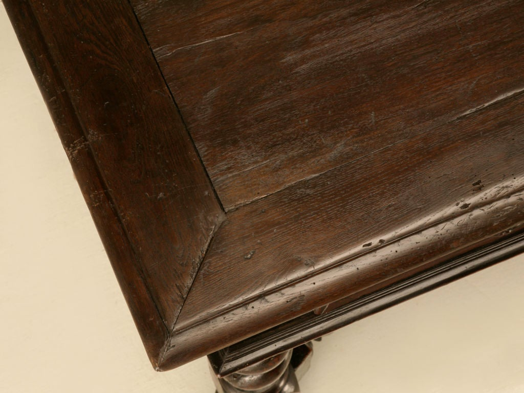 Antique French Solid Oak Medieval Style 2 Drawer Writing Table In Good Condition In Chicago, IL
