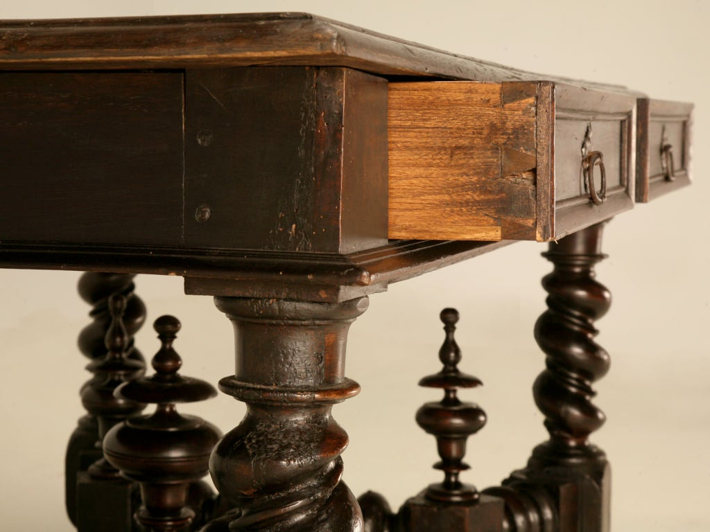 19th Century Antique French Solid Oak Medieval Style 2 Drawer Writing Table