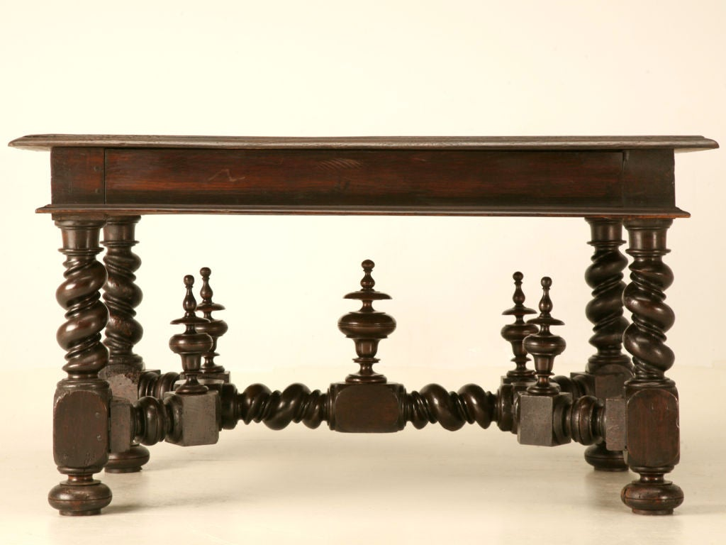 Antique French Solid Oak Medieval Style 2 Drawer Writing Table 5