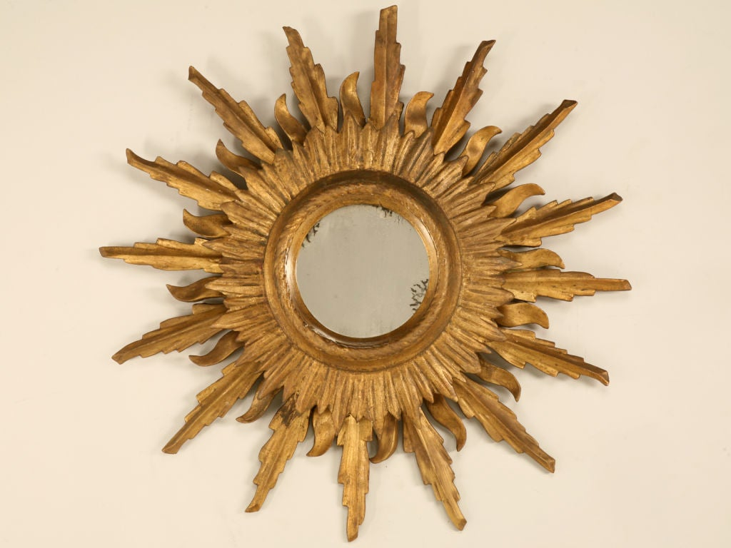 Unique Vintage Italian Carved & Gilded Sunburst Mirror image 2