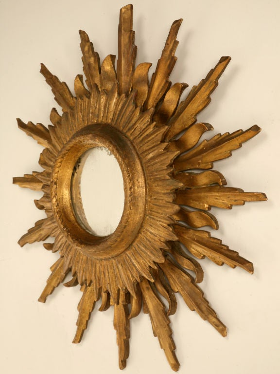 Unique Vintage Italian Carved & Gilded Sunburst Mirror image 3