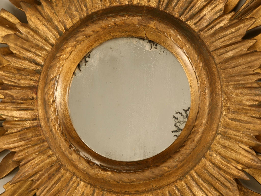 Unique Vintage Italian Carved & Gilded Sunburst Mirror image 4