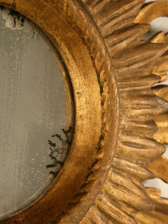 Unique Vintage Italian Carved & Gilded Sunburst Mirror image 6