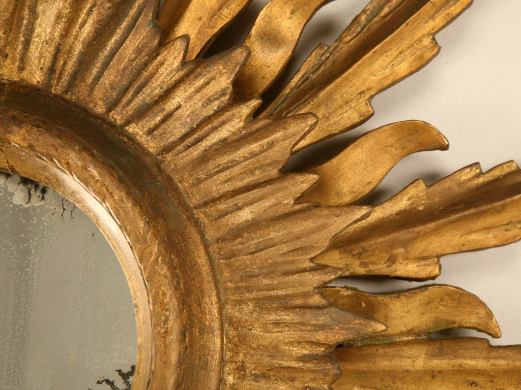 Unique Vintage Italian Carved & Gilded Sunburst Mirror image 8