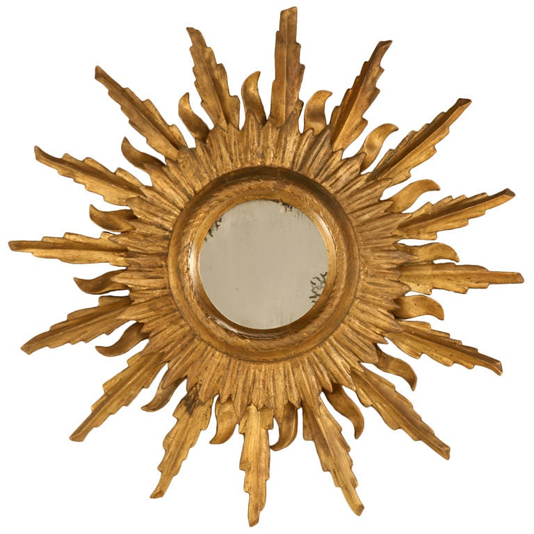 Unique Vintage Italian Carved & Gilded Sunburst Mirror