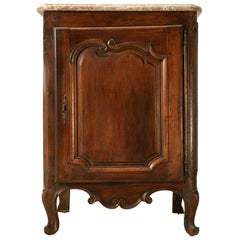 18th Century French Walnut Louis XV Cupboard with Original Marble Top