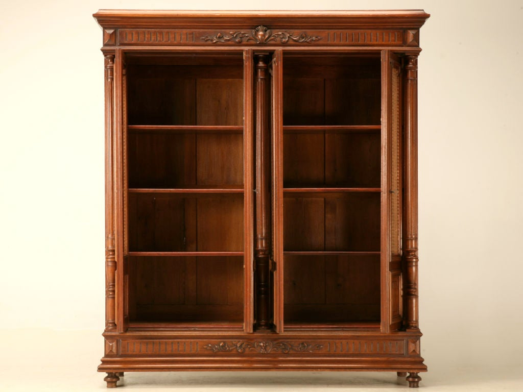 Original antique french walnut henri ii four door bibliotheque at 1stdibs - Bibliotheque 4 cases ...