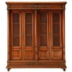 Original Antique French Walnut Henri II Four-Door Bibliotheque