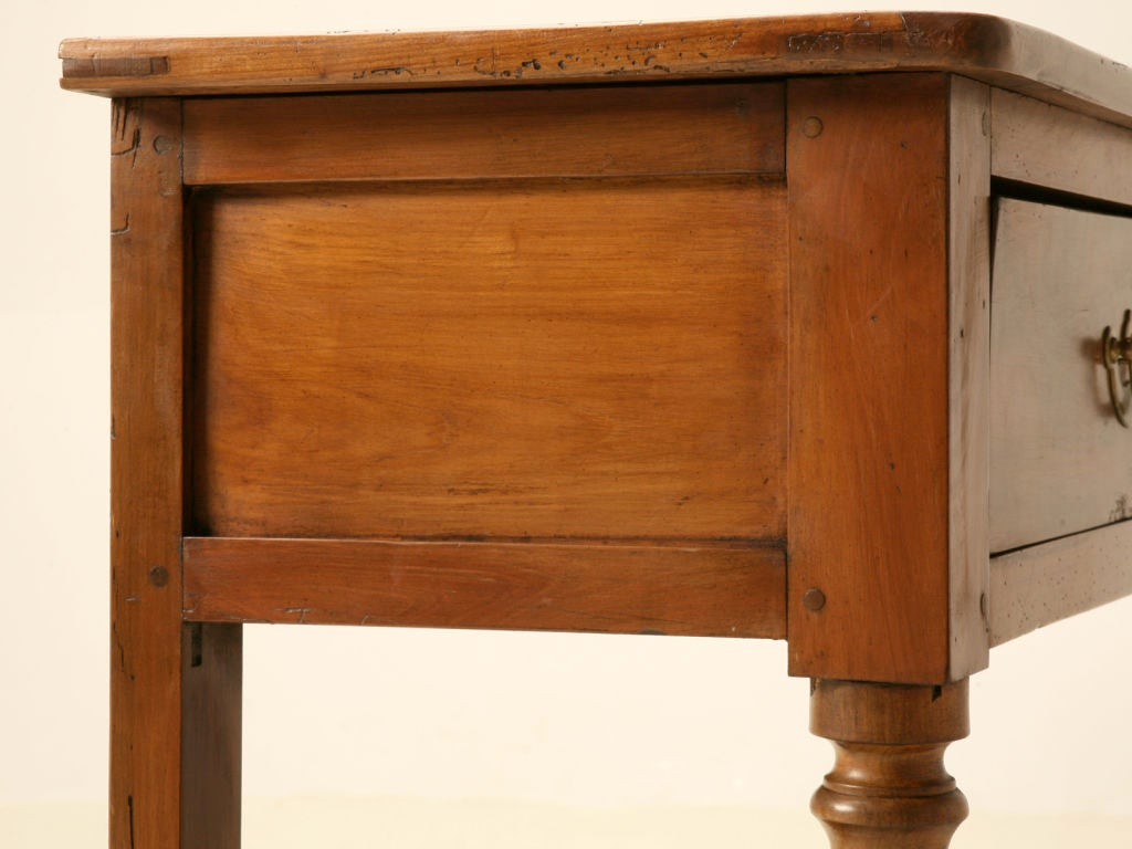 Vintage french cherry wood drawer sofa console table w