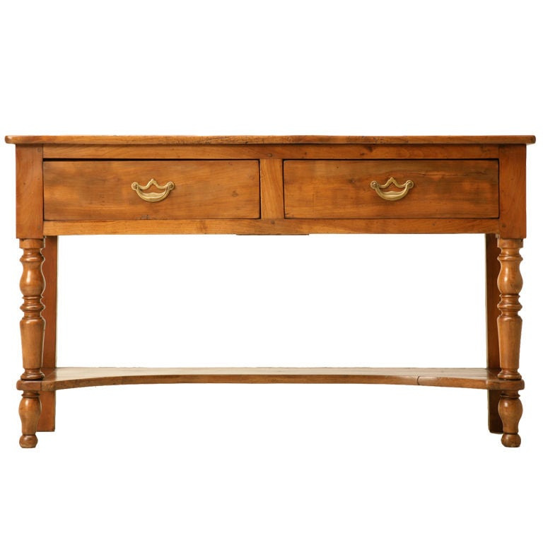 vintage french cherry wood 2 drawer sofa console table w. Black Bedroom Furniture Sets. Home Design Ideas