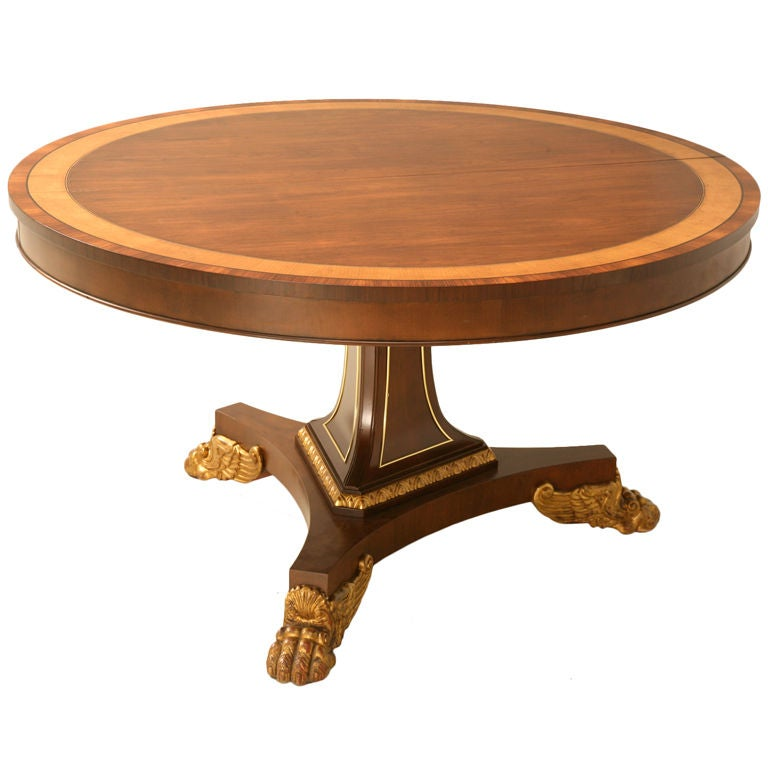 """Baker Coffee Table Round: Vintage 54"""" Round Banded Pedestal Table W/Gilt Paw Feet By"""