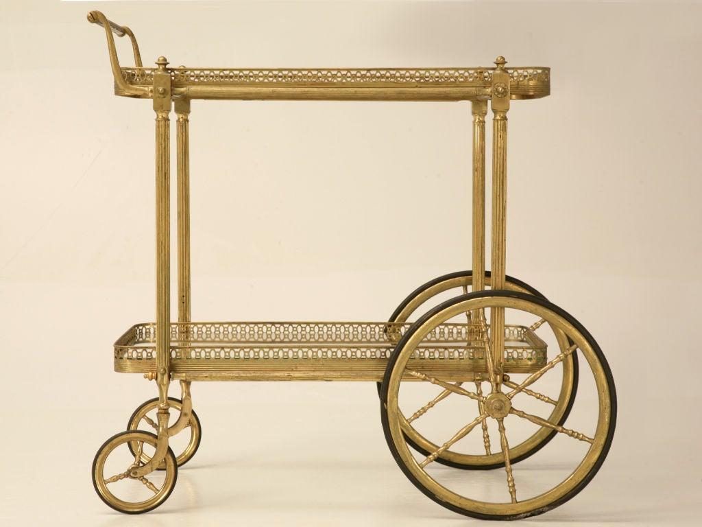 vintage french brass tea or bar cart at 1stdibs. Black Bedroom Furniture Sets. Home Design Ideas