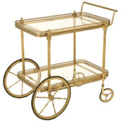 Vintage French Brass Tea or Bar Cart