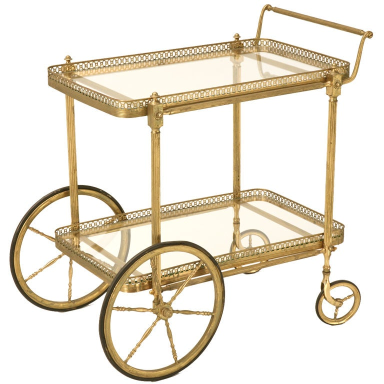 Vintage French Br Tea Or Bar Cart For