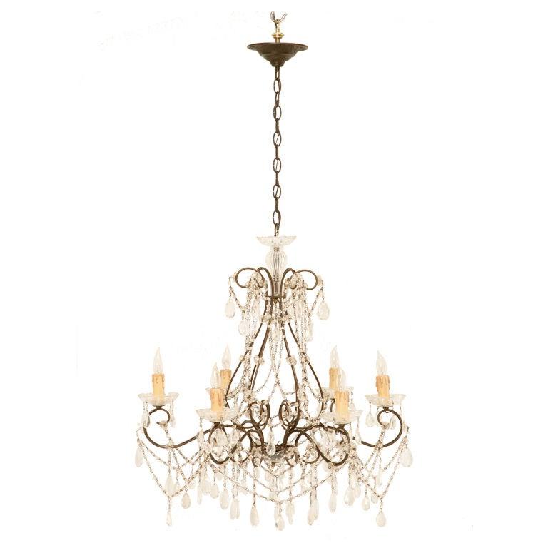 Opulent Vntg. Italian Gilt, Crystal & Beaded 6 Light Chandelier