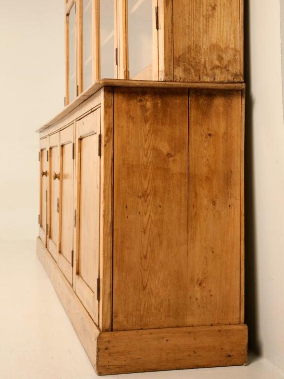 Original unrestored antique english pine china cabinet for Antique pine kitchen cabinets