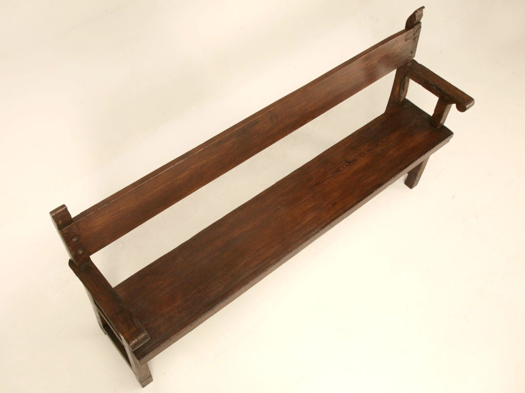 Primitive Antique French Farm House Bench With Back At 1stdibs
