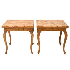 "Awesome Pair of Vintage ""Baker"" Marble Top Tables w/Drawers"