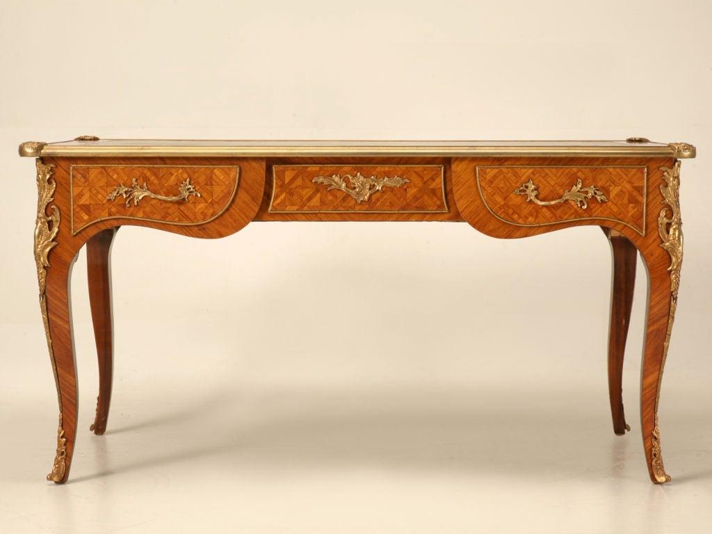 Fancy Antique Italian Marquetry Bureau Plat W Ormolu Trim