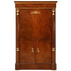 """Vintage """"Baker"""" Crotch Mahogany Empire Style Secretary/Bar"""