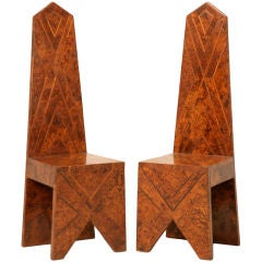 Magnificent Pair of Modern Design Obelisk Form Chairs