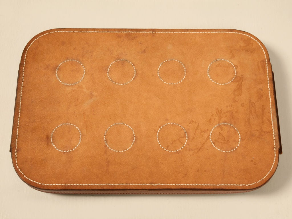 Breathtaking Vintage French Quot Hermes Quot Stitched Leather Tray