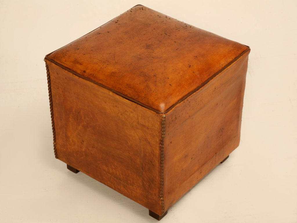 Original Vintage French Leather Cube Form Table Ottoman Or