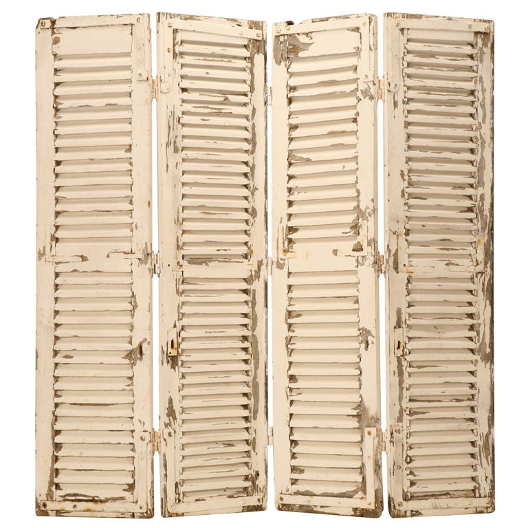Stunning Original Paint Antique French 4 Panel Shutter Screen 1