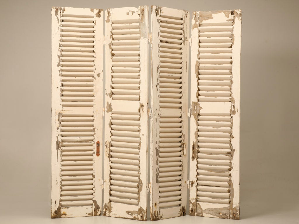 Stunning Original Paint Antique French 4 Panel Shutter Screen 7