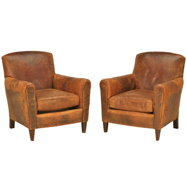 Exceptionnel Stunning Pair Of Original 1930u0027s French Club Chairs W/Textured Leather For  Sale