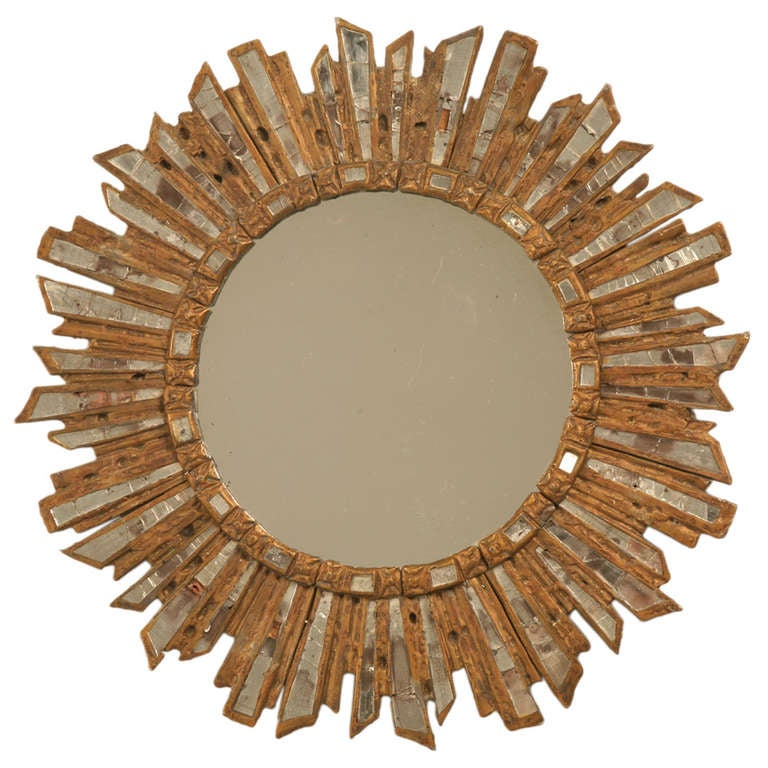 Amazing Un Red Early French Art Deco Sunburst Leaded Glass Mirror For